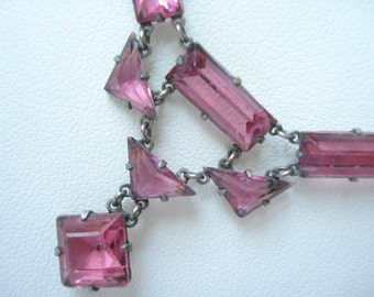 Art Deco Necklace Cranberry Pink Glass   1920's 1930's