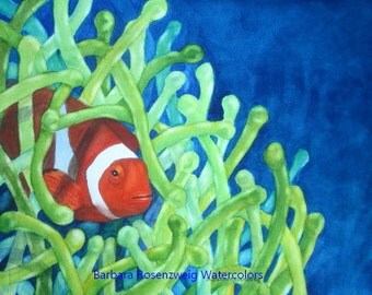 Fish Art, Clownfish Print, Clownfish Painting, Clown Fish Watercolor, Coral Reef Art, Beach Decor, Nursery Art, Clownfish Wall Art Ocean Art