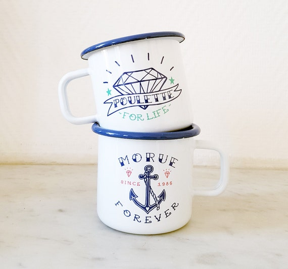 Duo Enamel Mugs / Morue Forever & Poulette for Life