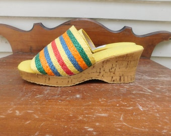 Vintage Grasshopper Cork Wedge Summer Sandal Mule Slides size 8M
