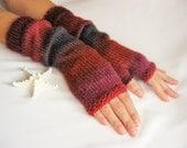 LONG Fingerless Wool Multicolored Gloves