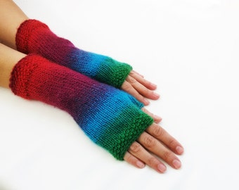 LONG Fingerless Gloves,Woodland colors