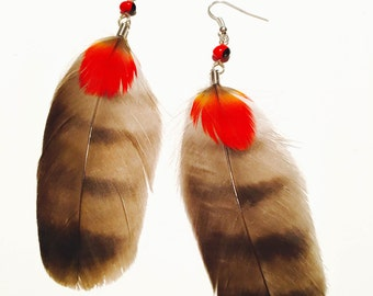 Peruvian Feather Earrings with Amazonian Huayruro Seed