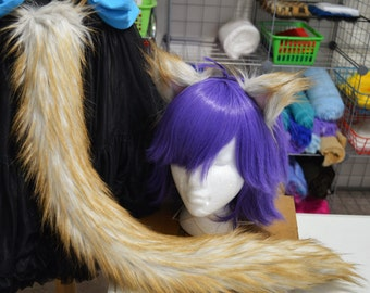 Blonde Fox Fur Cat Tail and Ears Set