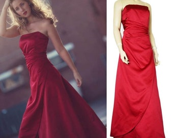 Red vintage 80s dress satin balgown strapless size L 42 44