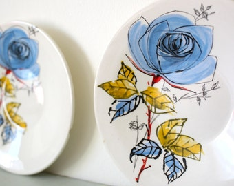 Pair of Blue Rose Palissy Saucers - 1950s Mid Century Modern