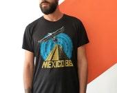 Mexico - Free Shipping - Unisex (Mens / Womens)  screen printed T shirt Black