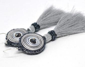 Dangle earrings silver grey, earrings long tassels - Handmade jewelry OOAK ready to ship