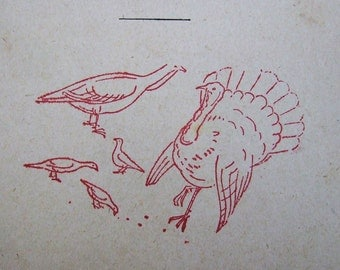 French rubber stamp Turkey and Farm Birds vintage stamping
