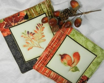 Quilted Serving Trivets (2) - Autumn Leaves  Set #3