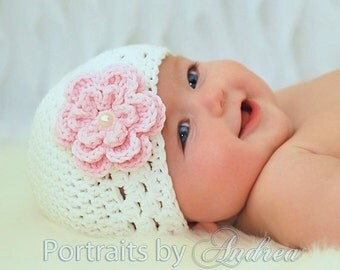 Baby Girl Hat , Newborn Girl Hat with Flower , Baby Hats , Girl Hats , Infant Girl Hats , Baby Winter Hats , SALE Beautiful Photography Prop