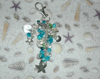 Crystal Beach Purse Charm Key Chain, Sea shells, beads, charms, silver tone