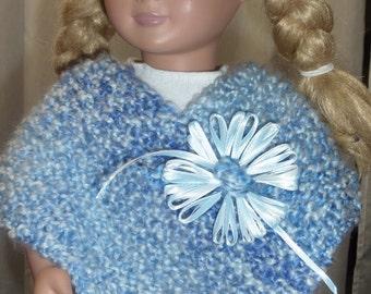 KNITTED DOLL PONCHO.  Blues. American Girl doll. 18 inch doll.