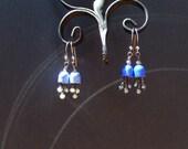 Blue Enamel Flower Earrings with Pearl, Small Dangle, Fairytale Jewelry, Blue Bell, Blue Flower Earrings, Autumn Jewelry