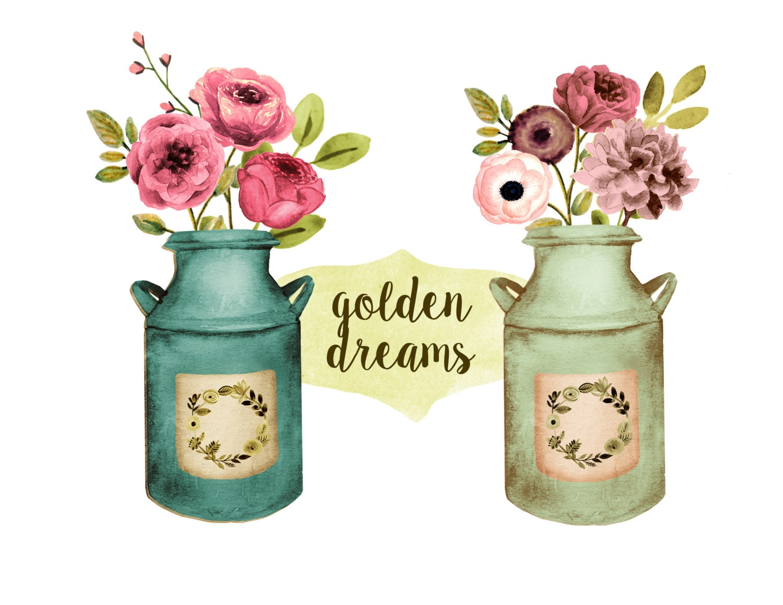 Floral clipart, rustic wedding clipart, mason jar clipart ...