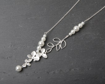 Bridal Necklace, orchid necklace, White Wedding necklace, Wedding jewelry, Bride necklace, Pearl necklace, silver orchid Jewelry