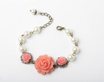 Coral bridesmaid bracelet, bridal bracelet, rustic wedding bracelet, coral rose and ivory pearl bracelet, vintage wedding bracelet