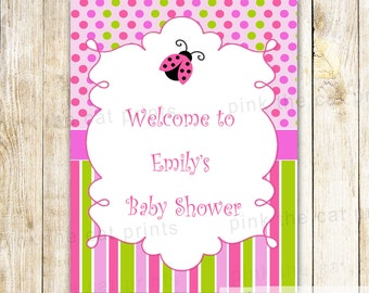 Ladybug Welcome Sign - Pink Green Baby Girl Shower Birthday Party Printable Personalized