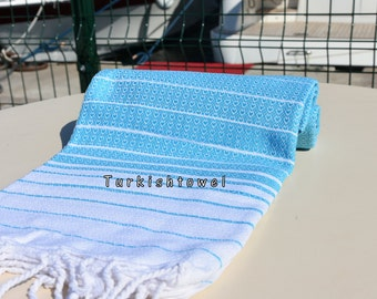 Turkishtowel-Hand woven,medium weight,very soft,HEART pattern,Bath,Beach,Travel,Wedding Towel-Turquoise and White stripes