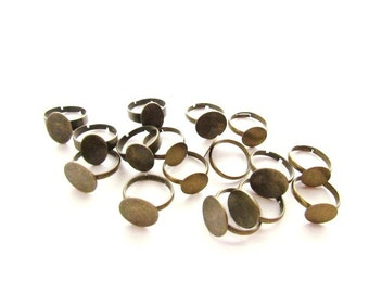 16 Adjustable Ring Blanks / Antiqued Brass/ Mixed Style