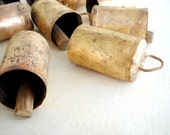 20 Golden Colored Hand Made Cow Bells with Wooden Clapper for Wind Chimes Craft Art with Jute Rope - DIY - MV136