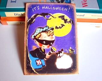 Small Ready to Frame Halloween Print * It's Halloween Boy Bandit Mask Robber Full Moon Black Bats Retro Holiday Decoration Home Decor