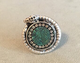 SUMMER SALE Sparkling green titanium druzy and austrian crystal snake ring