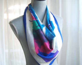 80's Silk Scarf, Large Abstract Floral Scarf in Cobalt Blue, Teal, and Fuchsia