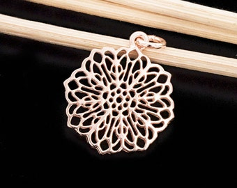 1 of 925 Sterling Silver Rose Gold  Vermeil Style Filigree Disc Pendant 18.5mm. Polish Finished   :pg0169