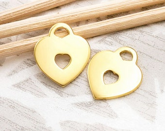 2 of 925 Sterling Silver 24k Gold Vermeil Style Heart Charms 12x14 mm. :vm0785