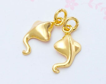 2 of 925 Sterling Silver 24k Gold Vermeil Style Mini Stingray Charms 8x14mm. :vm0579