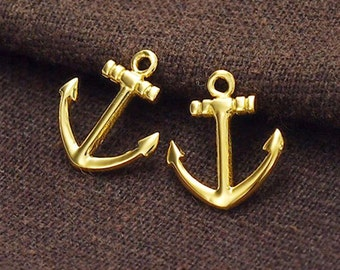 2 of 925 Sterling Silver 24k Gold Vermeil Style  Anchor Charms  12x14 mm. :vm0653