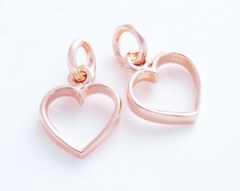 2 of 925 Sterling Silver Rose Gold Vermeil Style Heart Charms 9 mm. :pg0020