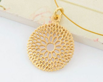 1 of 925 Sterling Silver 24k Gold  Vermeil Style Filigree Flower Pendant 17.5 mm. Polish Finished   :vm0715