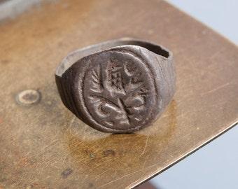 Antique  metal signed ancient  ring. Original dark patina.