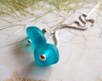 Sterling Ear Threads-Sea Glass-Resin-Turquoise