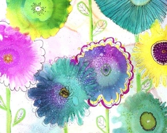Contemporary Art, Flower Art Print, Baby Wall Art, Colorful Artwork, Blue Garden Art, Trendy Art Work, Alcohol Ink Painting, Whimsical Decor