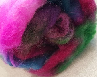 Alpaca Batt - Prefelt - Natural White batt dyed in Pinks with Green, Blue and Purple  - 4.4 ounces