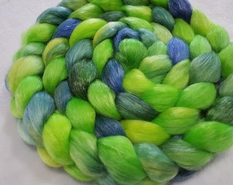 Merino/Tencel Roving - 50/50 - 4 oz - Lime Green, Yellow and Blue