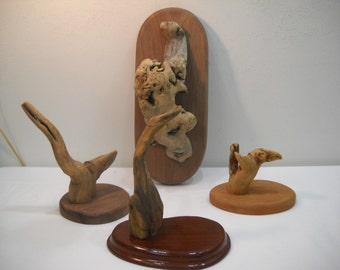 Vintage Set Of 4 Driftwood Nautical Wall Art Hanging Plaques 1970's