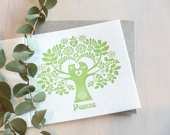 Hope peace letterpress Christmas holiday Card Scandinavian Folk Style Tree of Life, scandi, retro, love birds, red Hope or green Peace