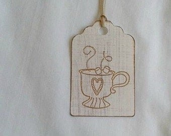 Cup Full stamped tags... Fall Colors... Gift Tag Set of 7.... Great tags to put on a gift mug.