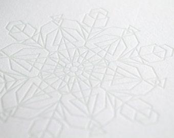 Subtle Snowflake Letterpress Card - Triangles