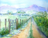 A Summer Walk in the Countryside -Ireland - Original Watercolour-  Irish landscape art