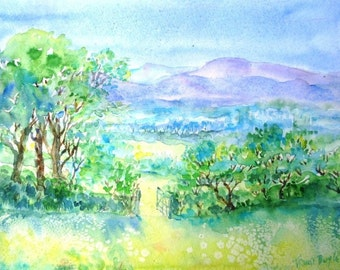 "irish landscape ""Summer in Wicklow "" -Ireland art,  SALE -Original Watercolour painting"