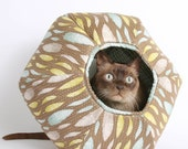 The Cat Ball a Cat Cave Bed in Teal Feathers Fabric