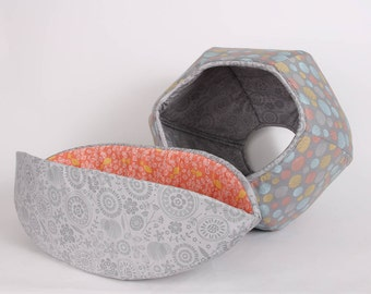 Cat Canoe® and Cat Ball® Cat Bed Grey Circles Coordinating Cat Beds from the Lilly Collection