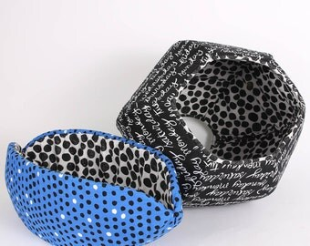 Cat Canoe® and Cat Ball® Cat Bed Coordinating Cat Beds in Whimsical Black Blue and Polka Dots