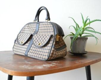 Vintage Purse 1960s Handbag Classic  Brown Plaid Top Handle Bag