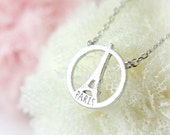 Eiffel Tower Necklace / choose your color- gold, silver and pink, paris